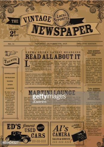 vintage newspaper template - Google Search