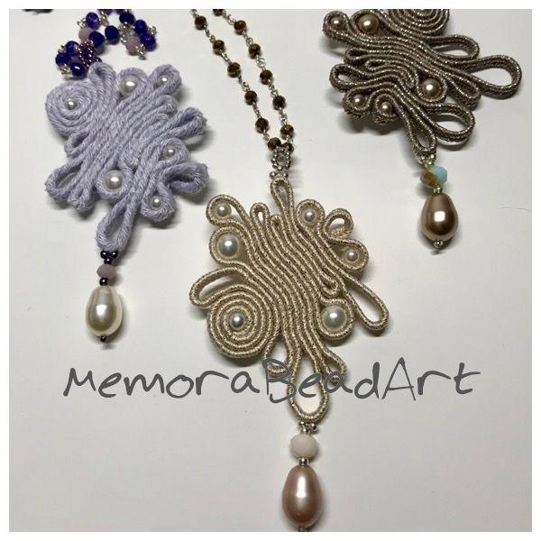 MemoraBeadArt Prêtáporter Arabesco long necklace Soutache pearls crystals one of a kind handmade