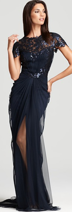 Tadashi Shoji Lace Gown - Cap Sleeve Gathered Waist #lace #navy #dress #long #formal #elegant #tadashi LOVE IT!!! <3