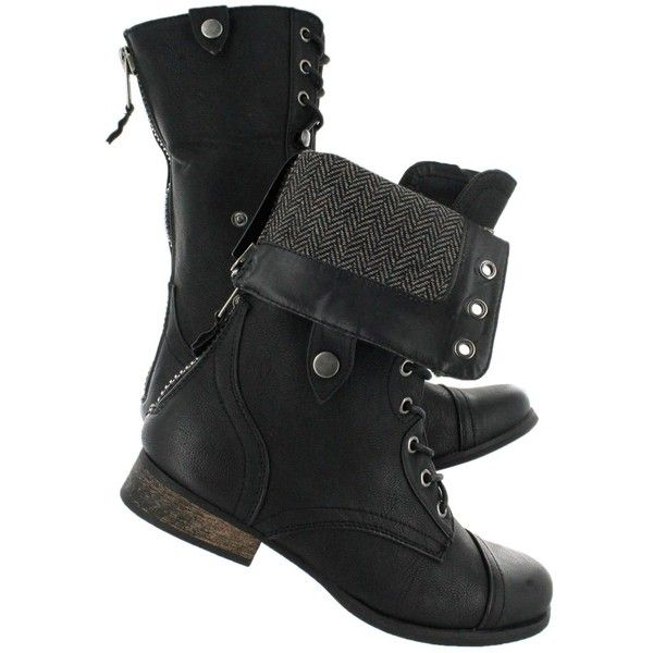 SoftMoc Women's BIANCA 2 black fold over combat boots ($110) ❤ liked on Polyvore featuring shoes, boots, ankle booties, foldover boots, army boots, military boots, black combat booties and folded combat boots