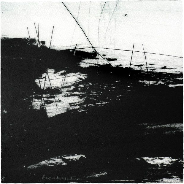 """Breakwater"", drypoint and carborundum printmaking by Ross Loveday"