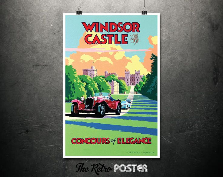 Windsor Castle - Concours of Elegance - Travel Poster England, Travel Prints, Travel gift, Travel Poster Prints, Car Poster, Castle Print by TheRetroPoster on Etsy