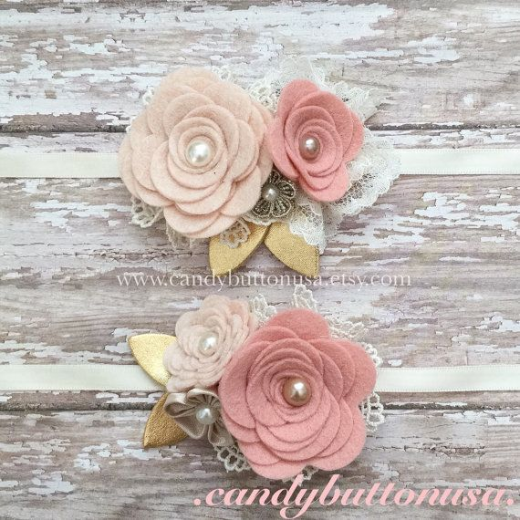 Baby Shower Gifts, Felt Flower Headband, Rustic Wedding Hairpiece, Newborn Headband, White Champagne Blush Gold Headband
