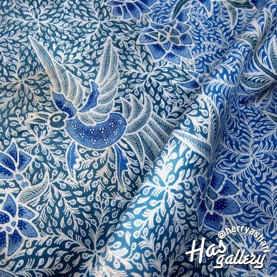 """Blue Bird n Flowers Indonesian Batik Art Peranakan Style - Herry Ashari Collections"