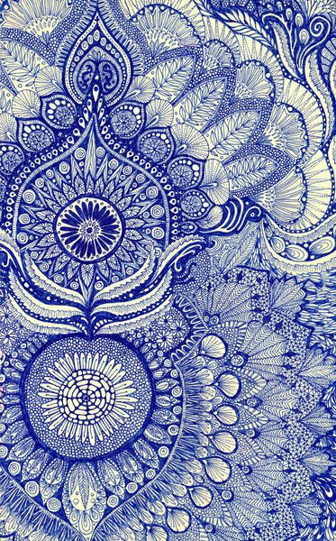 Blue ~ artist Yes Menu, on Society6.  I love doing hand-drawn patterns like these.  All prints, doodle art journal