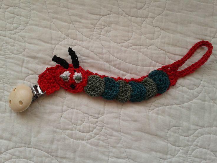 Rupsje nooitgenoeg speenkoort : very hungry caterpillar pacifier clip.
