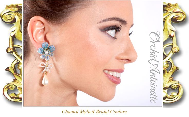 Orchid Antoinette, chandelier, pearl and glass beaded wedding earings by Chantal Mallett. Image: Veronica Virna