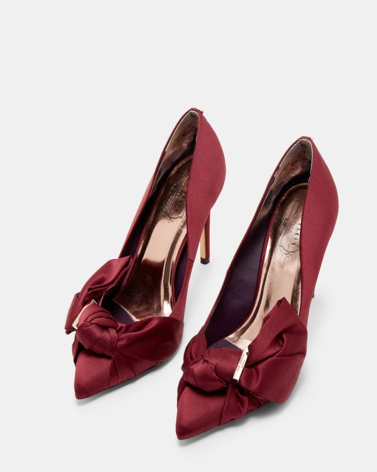 Bow detail satin courts - Oxblood | Shoes | Ted Baker SEU