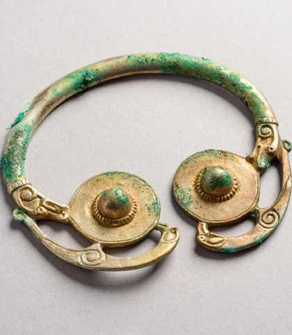 A photo of a 9th or 10th century Viking object from an archaeology hoard in Galloway