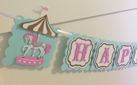 Carousel Birthday Banner: Happy First by SweetLittlePieces on Etsy