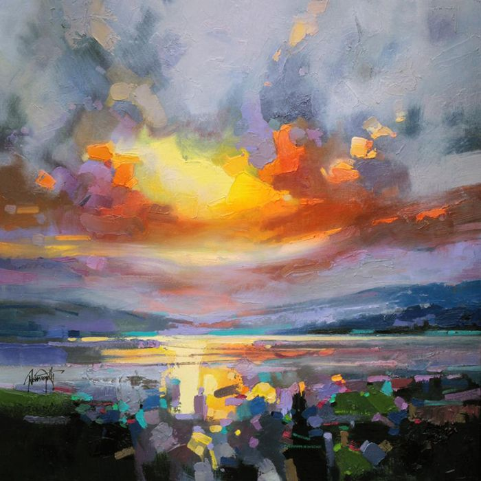 Colorful Reinterpretations of Cloudy Scottish Landscapes