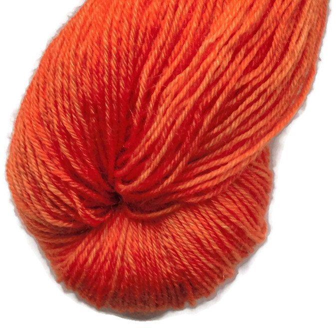 Redorange 1 Varm Orange Handdyed Bluefaced Leicester - Nylon Wool Fingering Sock Weight Yarn 3-ply For Knitting and Crochet , EU Seller