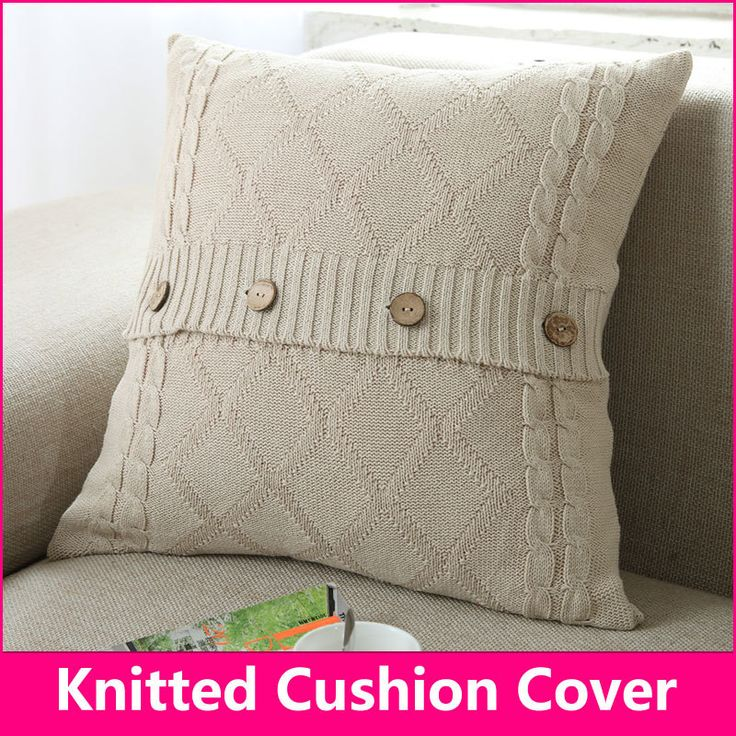 Knitted cushion Knitted pillow Cotton diamond button pillow decorate pillows 18 18 in 45 45cm