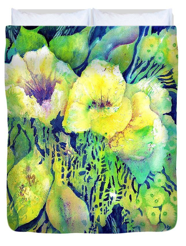 Duvet Cover yellow flower potpourri, floral Design. Painting by Sabina von Arx, FineArt4you. Beautiful soft pastel colors of spring. The modern style duvet covers, pillows and fleece blankets are available in different sizes. I wish you a deep and healthy sleep! Click the visit button to see the collection.