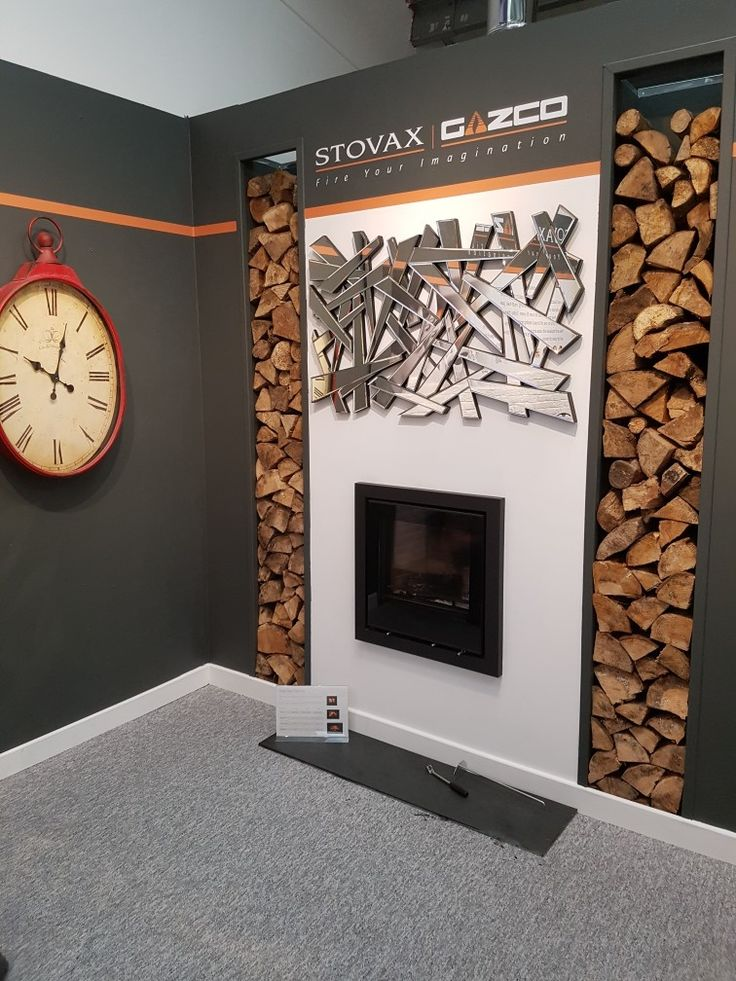 Stovax Elise cassette. metal stud  fake fire place construction with log stores