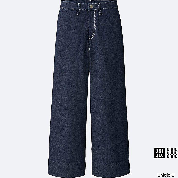 WOMEN U DENIM WIDE LEG PANTS, BLUE