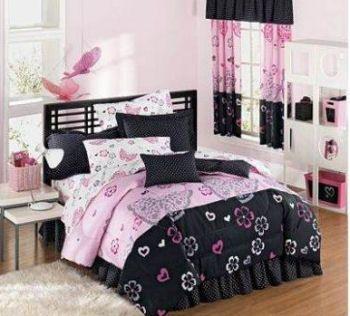 pink-black bed room decor