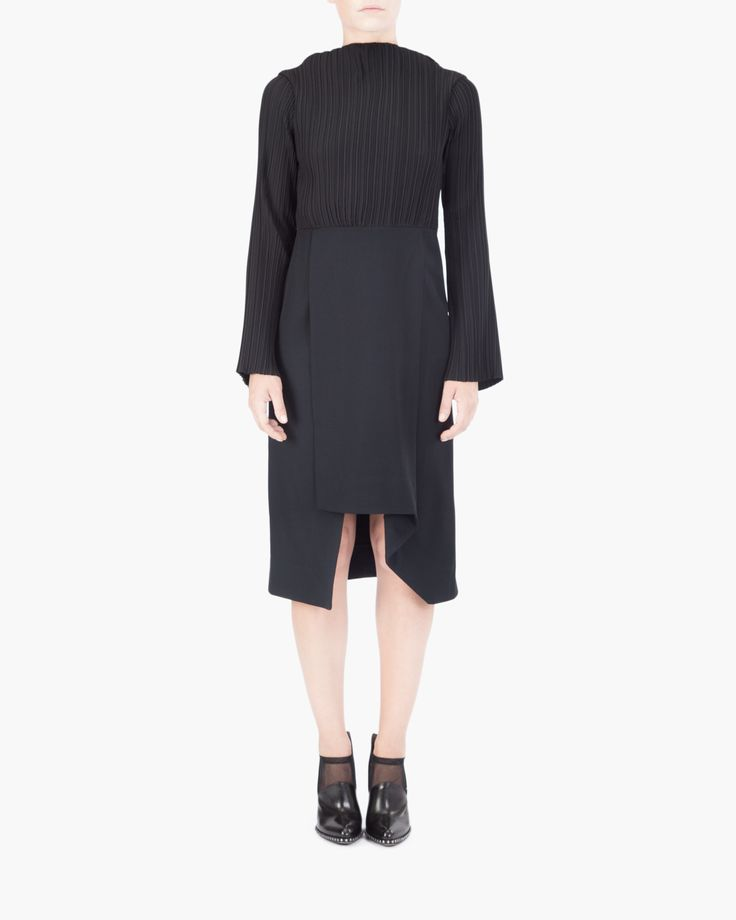 Pleated dress Malloni // Stretch polychiffon dress pleated effect. Long sleeves bell and asymmetrical skirt