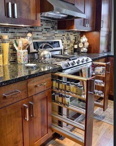 Small Kitchen Organizing Ideas - Hidden Spacesaving Spiceracks - Click Pic for 42 DIY Kitchen Organization Ideas & Tips