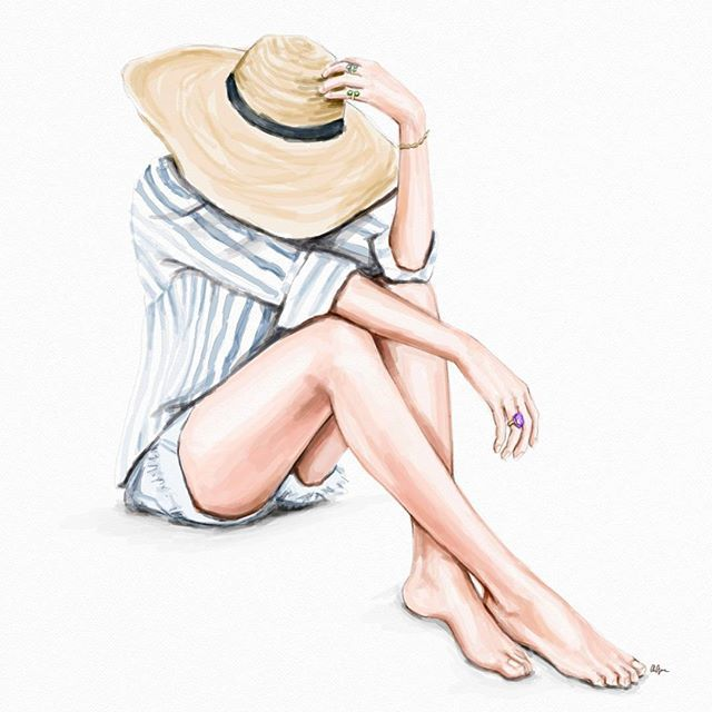 "Daily sketch🍀 ""RELAX... We're all crazy... It's not a competition."" ⛵🌞 #stripe  #fashionillustration #fashionsketch  #illustration"