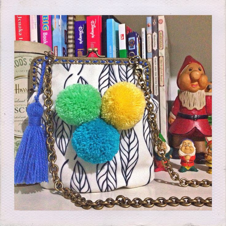 Canvas printing sling bag with pompom and tassel