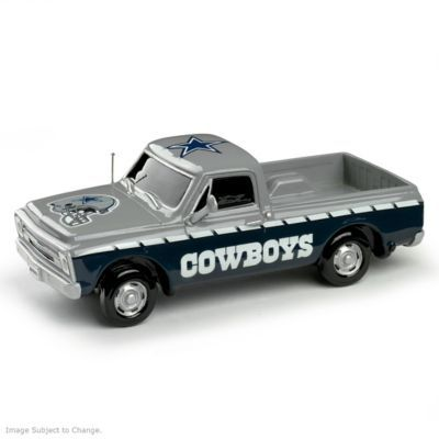 Limited-edition 1:43-scale handcrafted Chevrolet pick-up truck sculptures honor Cowboys with custom paint schemes and team logos. Officially licensed.