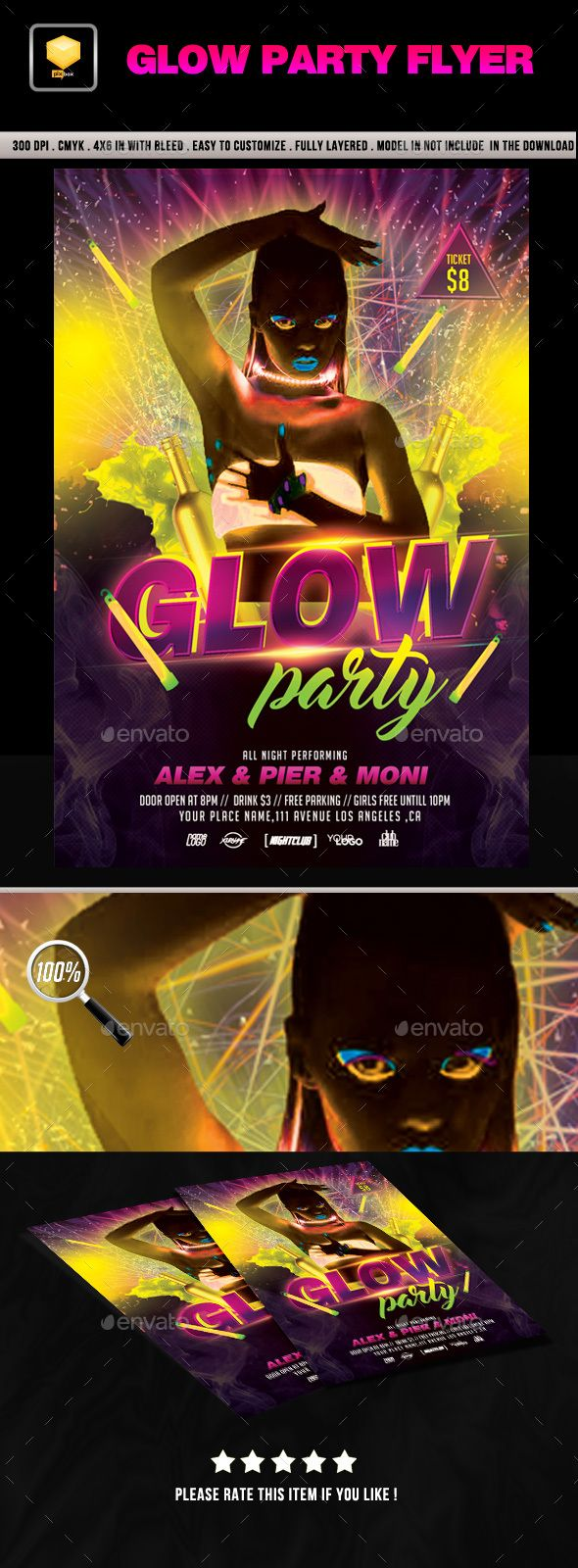 Glow Party Flyer Template PSD