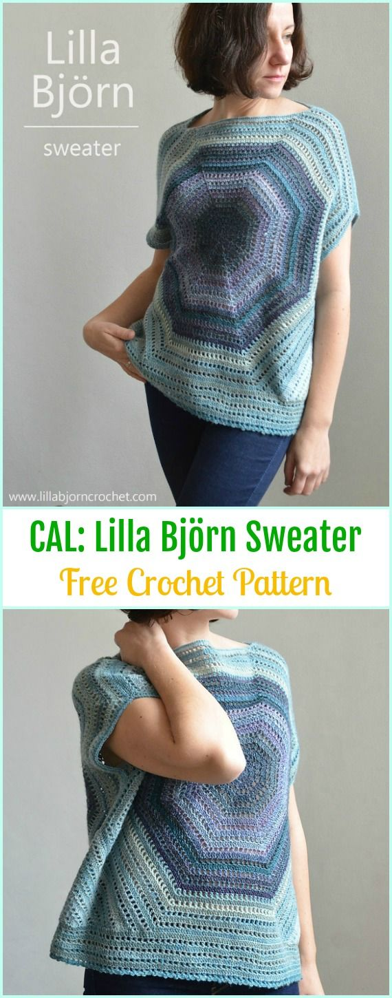 Crochet Lilla Björn Sweater Free Pattern - Crochet Women Sweater Pullover Top Free Patterns