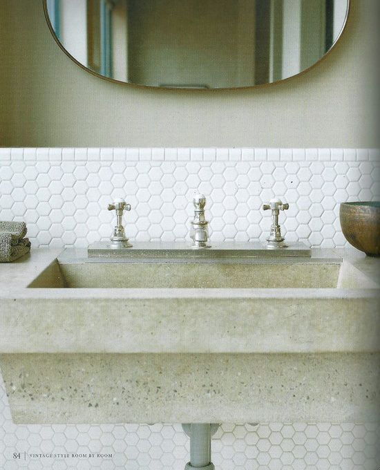 hex tile wallmount concrete sink and white hexagonal tile use timber instead of concrete for our house