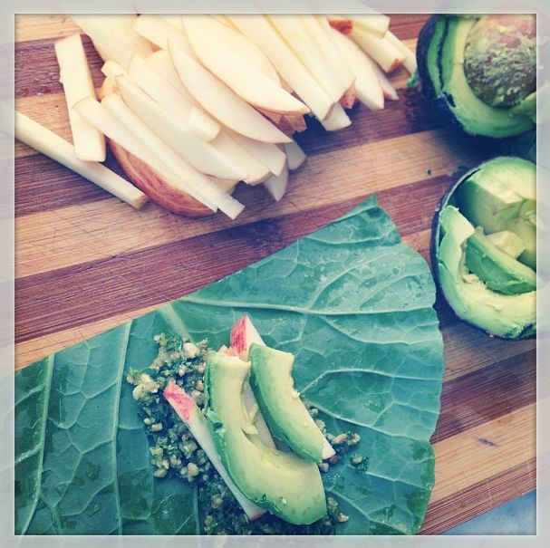 Apple Avocado Collard Wrap recipe from @Joy McCarthy - joyous health