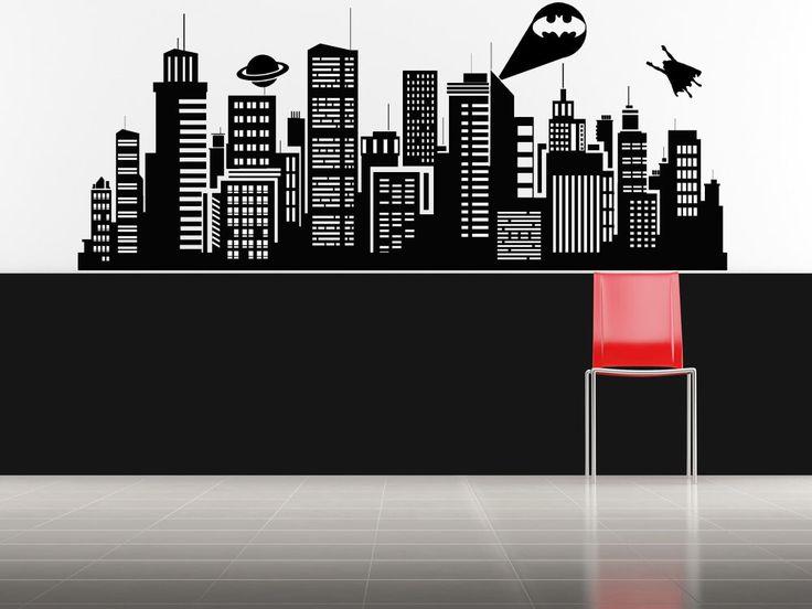 Batman superman daily planet skyline decal sticker for Batman cityscape wall mural