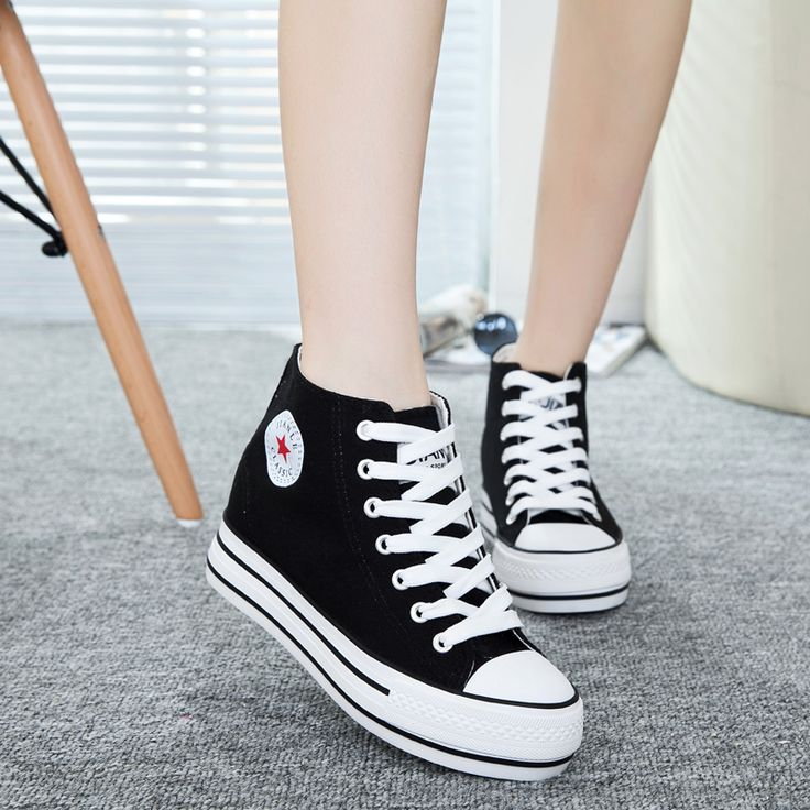 Hot Sale 2016 Women's White Shoes High Platform Casual Shoes Quality Women  Canvas Shoes for Girls