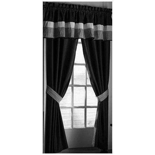 Modern black white grey faux silk taffeta window for 120 inch window sheers