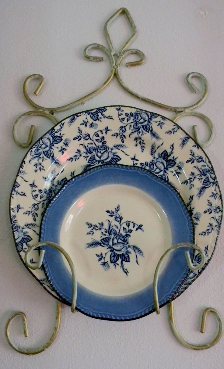 Collectible Blue Floral Plates French Country Decor