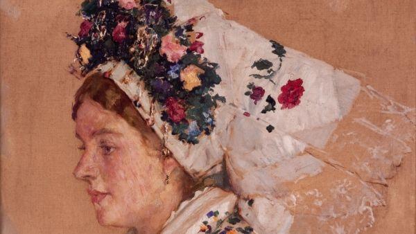 Ludvík Kuba: Nevěsta z Borkow, Dolní Lužice (olej na plátně, 1923) - detail