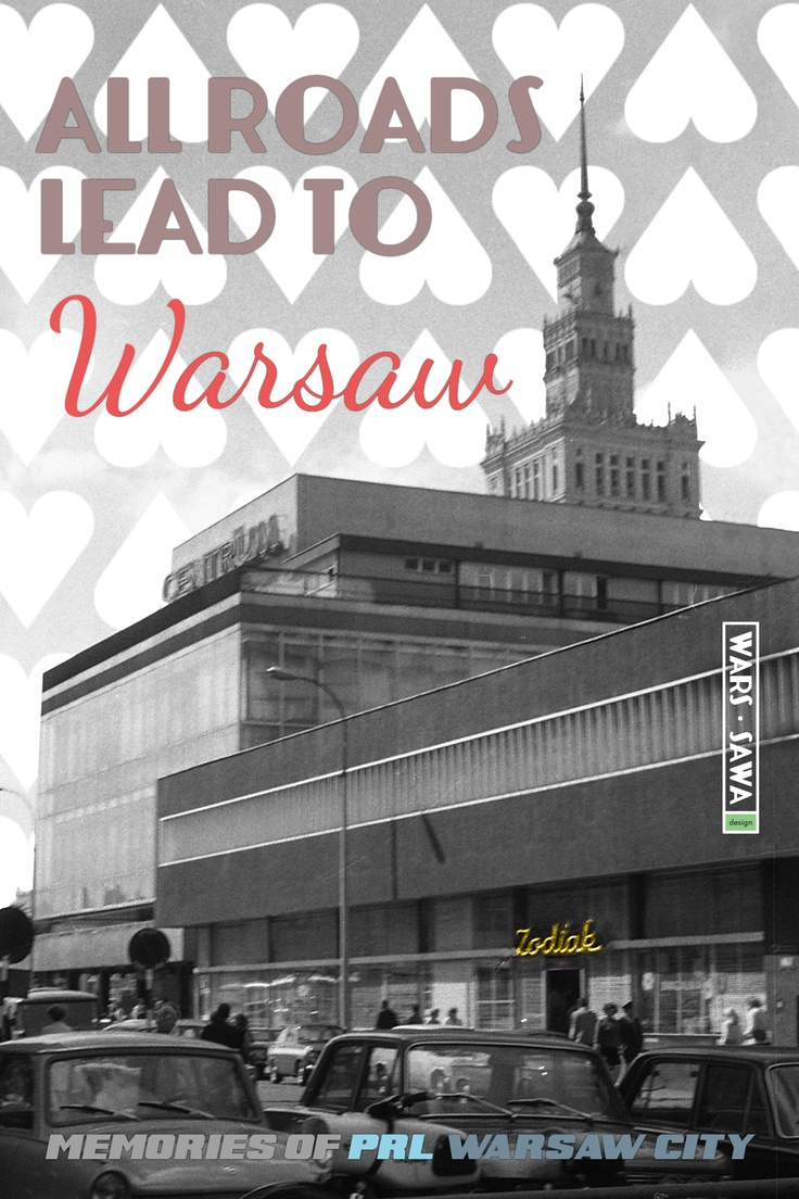All roads lead to Warsaw! Postcard by Wars Sawa Design, Warszawa, Warsaw, Memories of PRL.