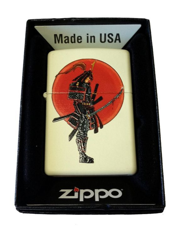 Zippo Custom Lighter - Japanese Warrior Samurai w/ Bloody Sword Cream Matte -- Want to know more, click on the image.