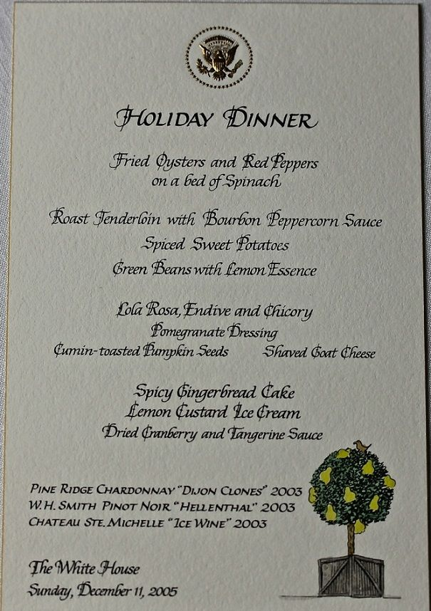 Holiday Dinners at the White House in 2020 | Vintage menu, Classic