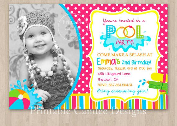 Girl Pool Party Birthday Invitation DIY Custom By Printablecandee 1000
