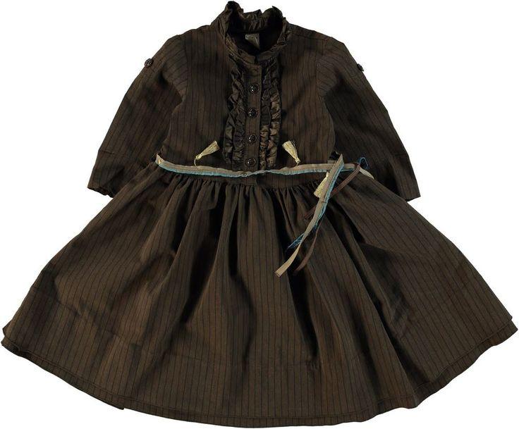 Jottum beautiful brown winter striped dress Sitske 128 8 Y