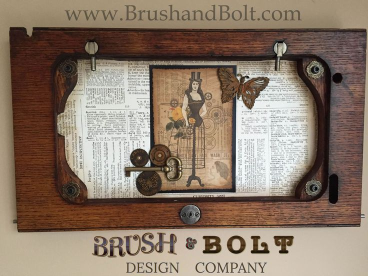 This beautiful original art piece by Val (the Brush in Brush & Bolt Design) uses part of a late 1800's New Williams Sewing Machine table top as the frame. Note the lock mechanism and it's patent dates of 1893 and 1898. A perfect pairing of old and new!