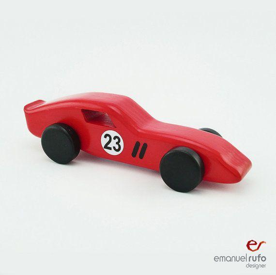Rot aus Holz Spielzeugauto aus Holz Auto für Kinder von emanuelrufo