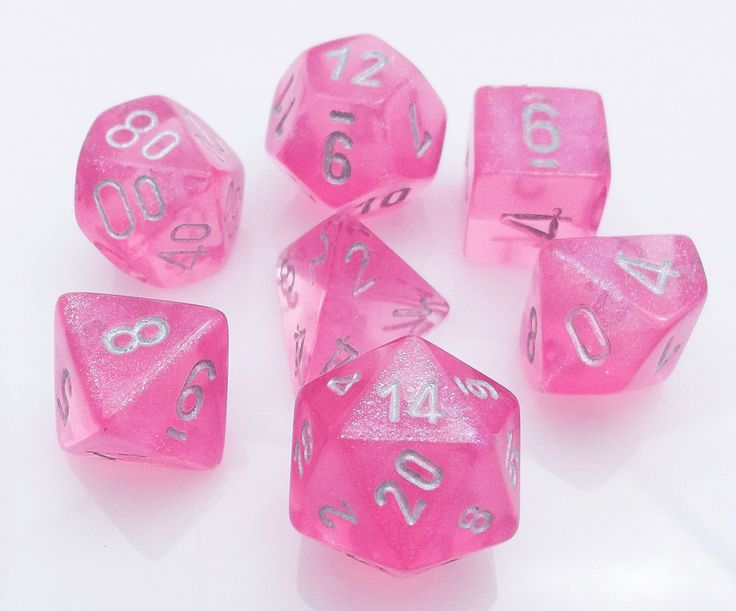 Be a RPG hero with Borealis Dice (Pink). This 7-piece dice set contains all the classic polyhedral shapes you know and love: d4, d6, d8, d10, d%, d12, and d20. Each Borealis die is cast in a semi-tran