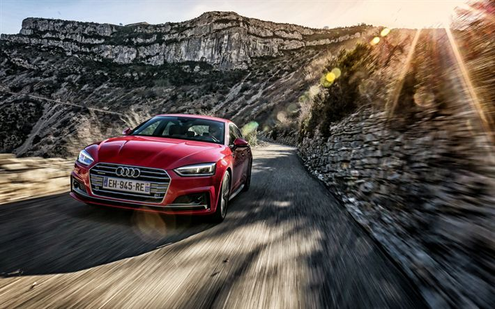 Descargar fondos de pantalla Audi A5 Sportback, 2018, Rojo A5, velocidad, carretera de montaña, Audi