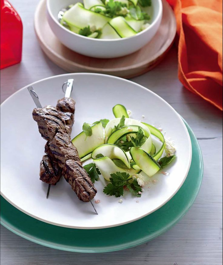 Beef skewers with zucchini salad by Tiffiny Hall from Fatloss for Good | Cooked