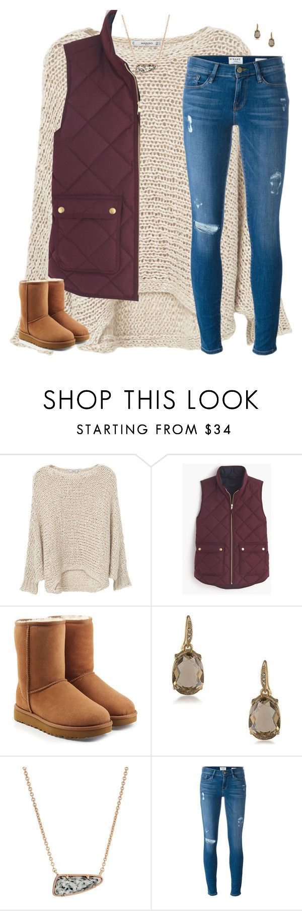 """"""""""" by moseleym ❤ liked on Polyvore featuring MANGO, J.Crew, UGG, Carolee, Kendra Scott and Frame Denim"""