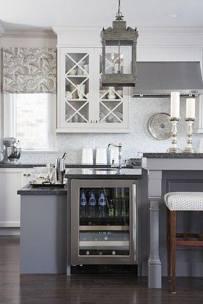 grey/white kitchen: Sarah Richardson, Kitchens Design, Lights Fixtures, Sarah Houses, Sarahrichardson, Wine Fridge, Grey Kitchens, Gray Kitchens, White Kitchens