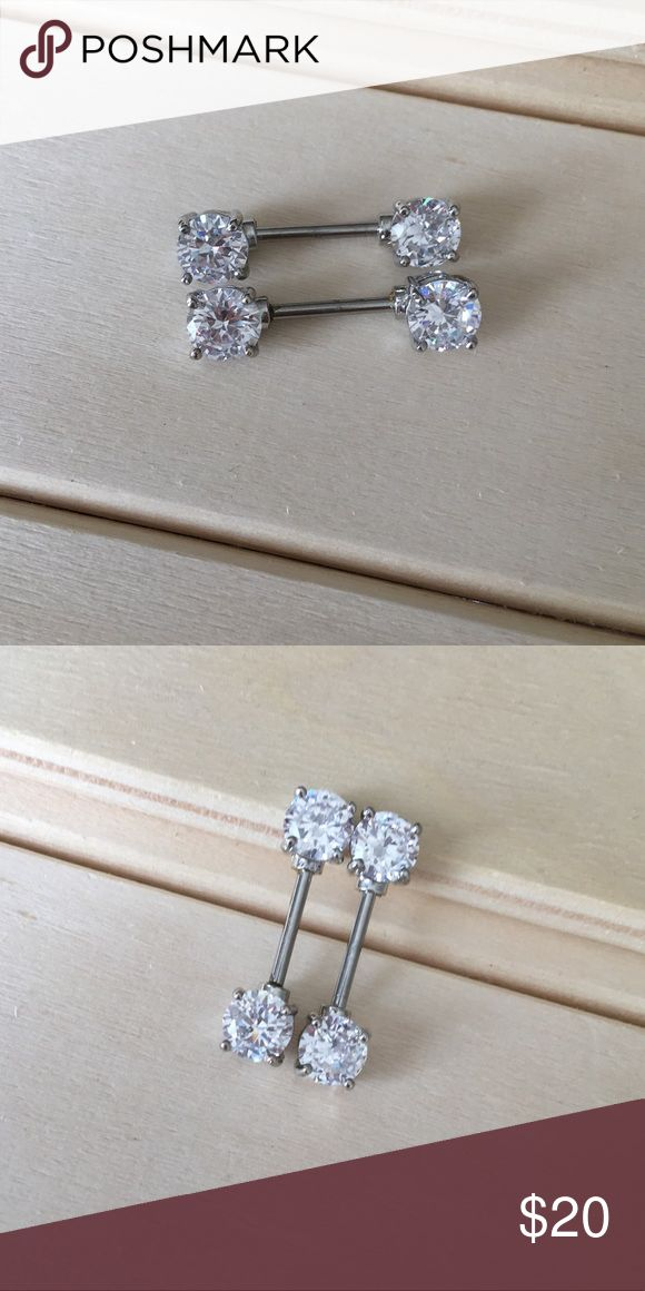 Silver CZ Prong Nipple Rings Brand New! 14 Gauge Surgical Steel. Ships within 1-3 days Absolutely no trades. Check out my all my items!  Thanks for looking ☺️ If you have any questions leave a comment below.  Nipple Ring Shield Nipples Piercing 14G Surgical Steel Body Jewelry New /// Includes both Bars, 7mm Stones on each side. Jewelry Rings