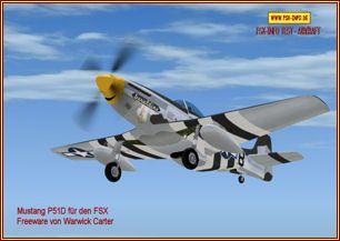 Mustang P 51D einsitziger Oldtimerals FSX Freeware von Warwick Carter