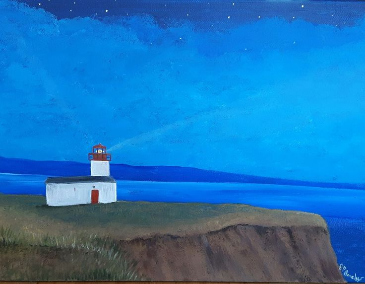 Guided Light. Painted with the Bay of Fundy Mud. Nova Scotia beach Cape DHor Lighthouse. Advocate Harbour. Artist Jacquie Potvin Boucher